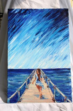Картина маслянная живопись на подарок море бегущая по волнам океан