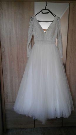Suknia Ślubna XS/XXS 34/32 .Iwory, Litera A, długi rękaw, dekolt plecy