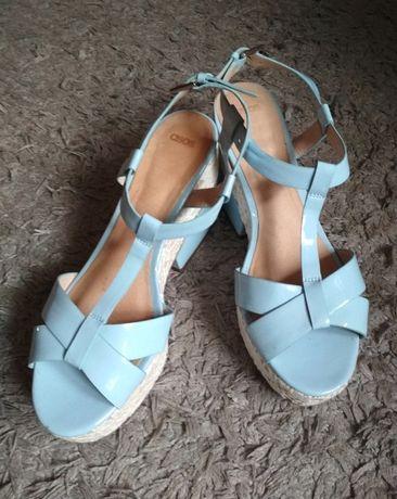 Błękitne niebieskie buty sandały na platformie platformy letnie ASOS