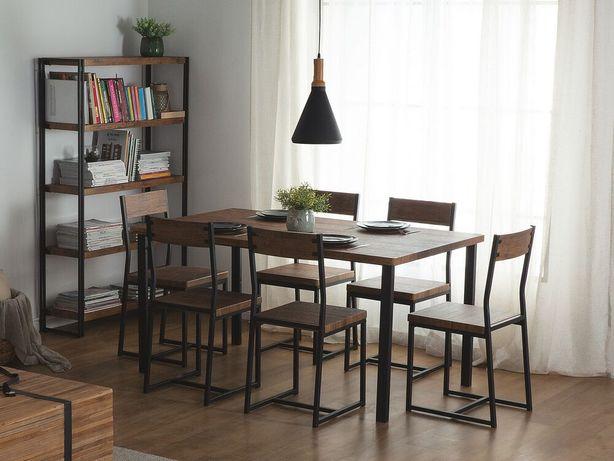 Conjunto de jantar 150 x 90 cm e 6 cadeiras em metal preto e castanho escuro LAREDO - Beliani