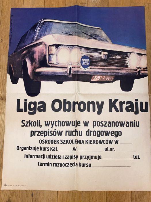 Plakat grafika fiat liga obrony kraju unikat 1972 Warszawa - image 1