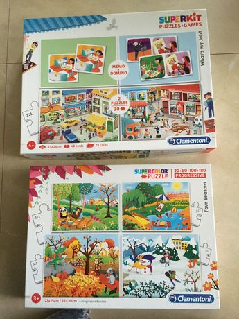 Clementoni 2 x puzzle + domino + memory STAN BDB