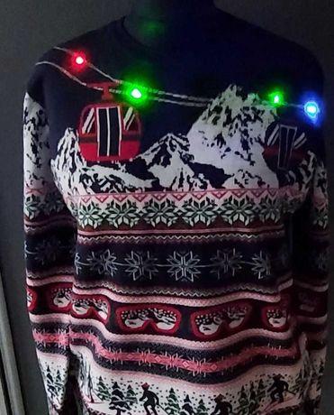 F&F świecący świąteczny sweter L