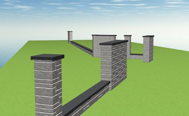 PROJEKT Ogrodzenia 2D 3D ogrodzenie betonowe łupane Drewbet Joniec