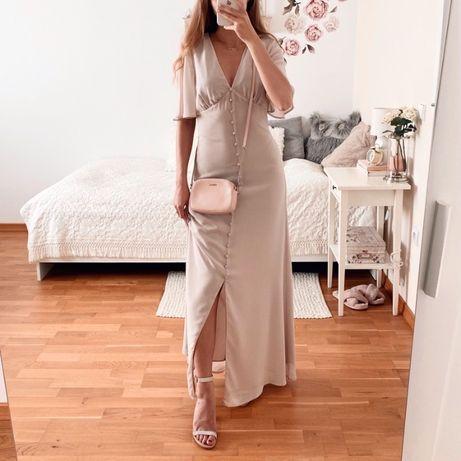Nowa z metką beżowa sukienka maxi Warehouse z Asos na wesele 38 M