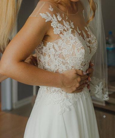 Suknia ślubna KOLEKCJA 2019 muślin wycięcie IVORY BOHO