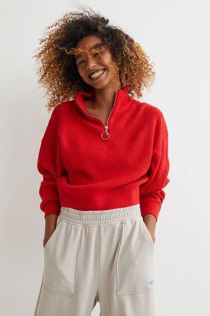 Новый красный свитер джемпер на молнии новинка h&m