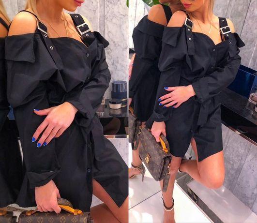 Stylowa sukienka koszulowa na ramiączkach MiLady uni M-XL czarna HIT