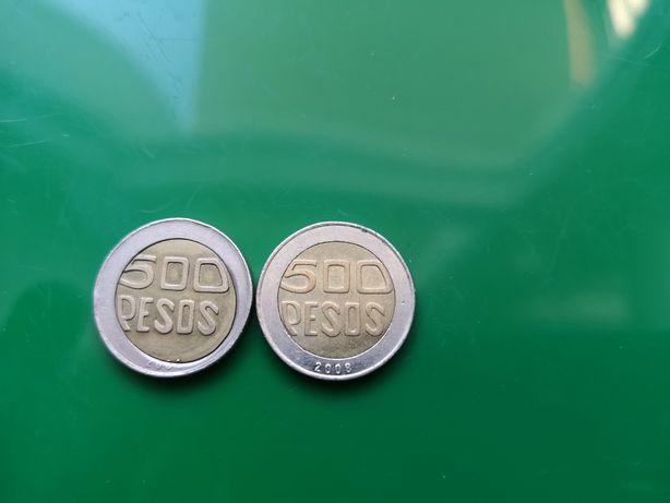 Destrukt monety 500 Pesos, Kolumbia.