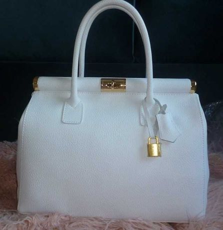 biała torebka kuferek kłódka złoto włoska skóra naturalna unikat