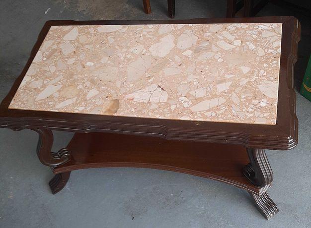 mesa de centro de sala madeira maciça e tampo pedra marmore
