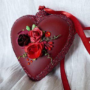 Serce szklane 3D serce dekorowane ze szkła zawieszka bombka z kwiatami