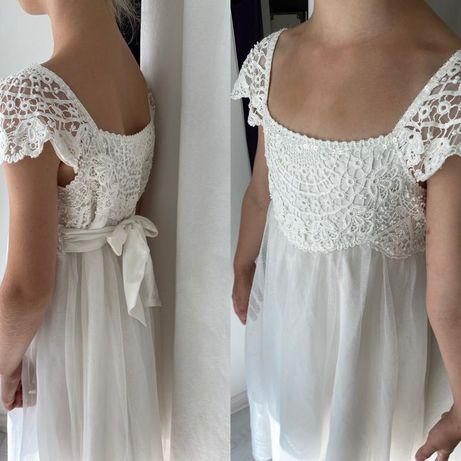 Белое нарядное фатиновое платье с кружевом monsoon accesorize