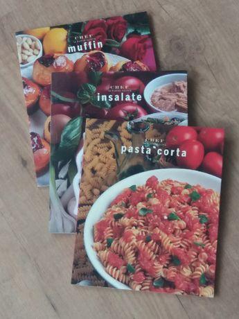 3 livros de receitas italianas - Pasta corta, muffins e saladas