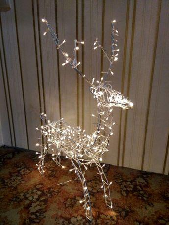 Олени с гирляндами. Новогодние олени. Декоративные олени. Каркасы.