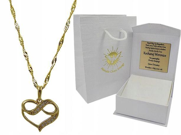 Złoty Łańcuszek z Serduszkiem pr.585 + GRAWER