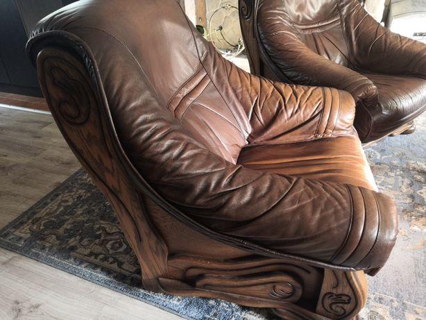 Komplet wypoczynkowy skóra kanapa i dwa fotele
