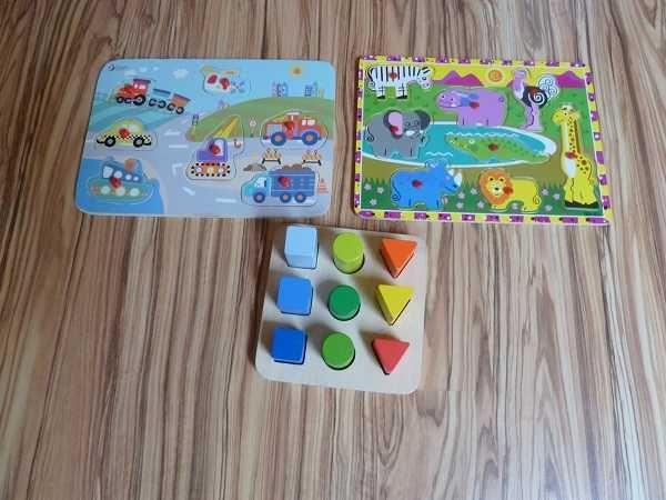 Zestaw zabawek drewnianych do układania puzzle