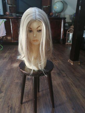 Peruka naturalna włosy słowiańskie front lace jasny chłodny blond