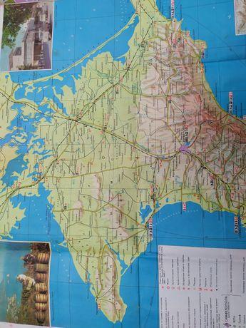 Карта Крыма СССР 1977 Туристический путеводитель  Крым Атлас
