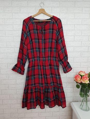 Czerwona sukienka w krate roz 44 XXL Asos nowa