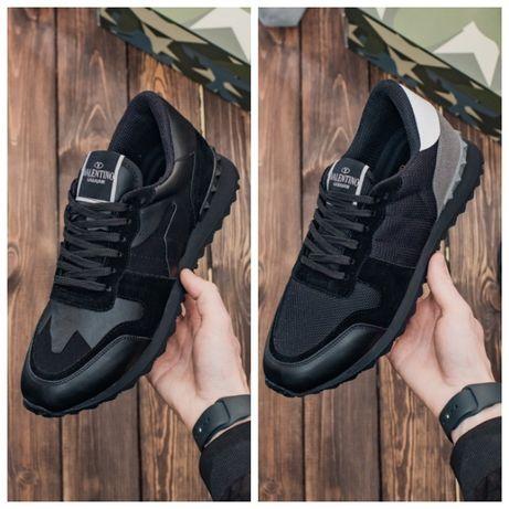 Мужские кожаные кроссовки Valentino Garavani Rockrunner Black Camo