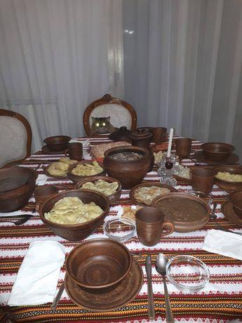 Посуд, набір для шести персон посуду глиняного