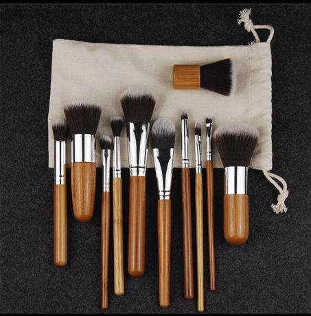 Кисти для макияжа, набор 11 штук, make up, бамбук.