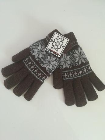 Mega cieple rękawiczki w gwiazdki na polarze Damsko męskie