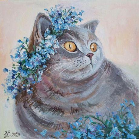 """Картина """"Cat in flowers"""" 2020 г., холст, акрил 30х30 см."""
