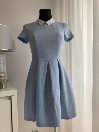 Sukienka Pretty Girl M 38 błękitna biały kołnierzyk elegancka