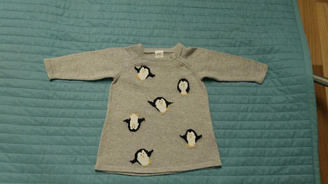 Sukienka hm święta pingwinki 68