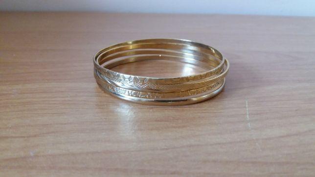 Pięć bransoletek bransoletki złoty kolor nowe