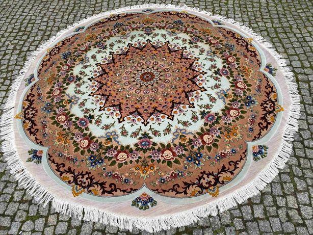 Nowy okrągły perski dywan Tabriz Raj z jedwabiem sr. 225 sklep 55 tys