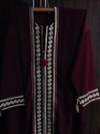 Платье-вышиванка в пол 56 размер,бордовое,вышитое в национальном стиле