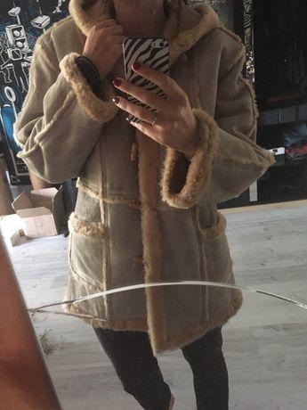 Kożuch skórzany jasny futro naturalna skóra ciepły płaszcz M L