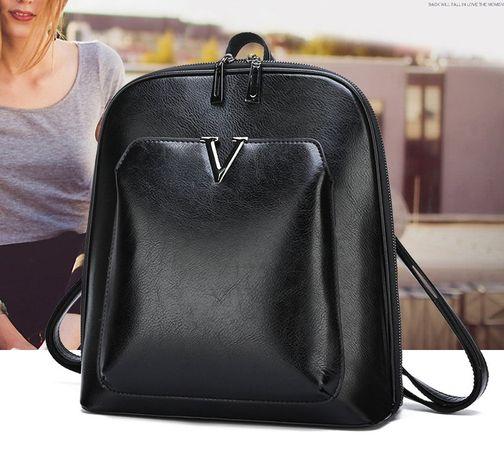 Женская сумка рюкзак трансформер коричневый черный качественныйный