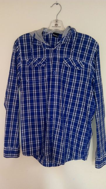 Koszula sportowa kaptur młodzieżowa Niebieska w Kratę