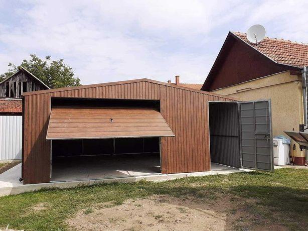 Garaż blaszany 6x6, imitacja drewna, MONTAŻ GRATIS!