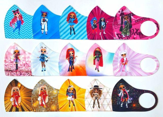 Детские маски, маски в школу Brawl Stars, Among Us, Lol, A4, Elsa