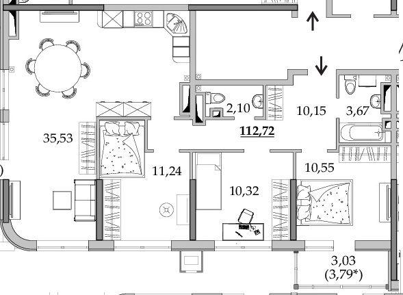"""3 ком квартира 112кв.м, в ЖК """"Таировские сады"""" от строителей"""