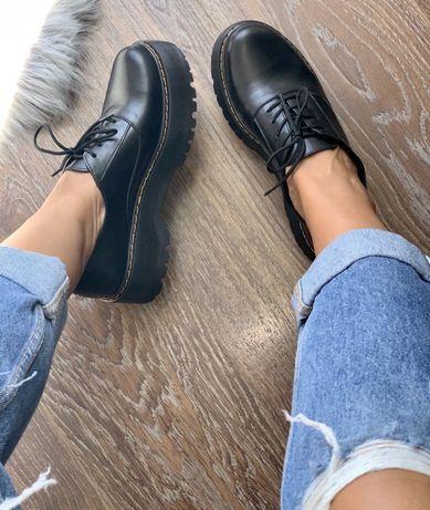 Шикарные КОЖАНЫЕ женские оксфорды, туфли черного цвета на платформе!