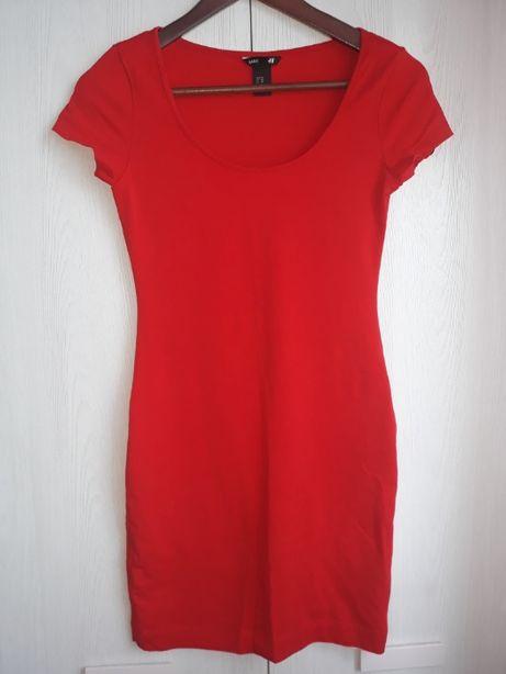 Czerwona sukienka na krótki rękaw H&M, r. XS