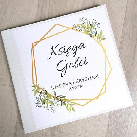 Księga gości na wesele z geometrycznym złotym wzorem z liśćmi 2