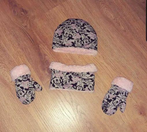 Nowy komplet zimowy czapka komin rękawiczki obwod do 46cm myszka minie
