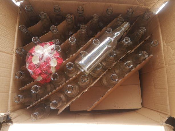 Butelki szklane 0,5 l z zakrętkami