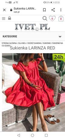 Nowa czerwona sukienka. Boho falbany. Kobieca modna. L/40.