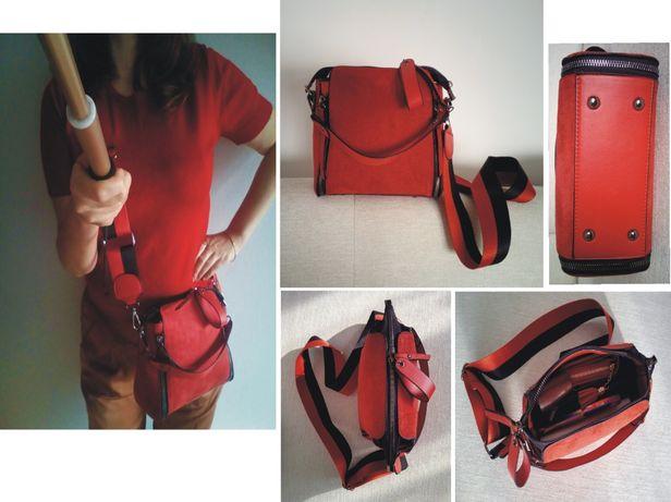 nowa czerwona mała zamszowa torebka listonoszka