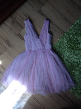 ZARA Tiulowa sukienka pudrowy róż XS/S