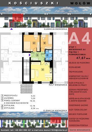 Mieszkanie trzypokojowe w Wołowie